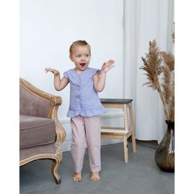 Блузка с короткими рукавами для девочки MINAKU, рост 92, цвет фиолетовый/белый Ош