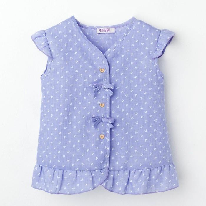 Блузка с короткими рукавами для девочки MINAKU, рост 98, цвет фиолетовый/белый
