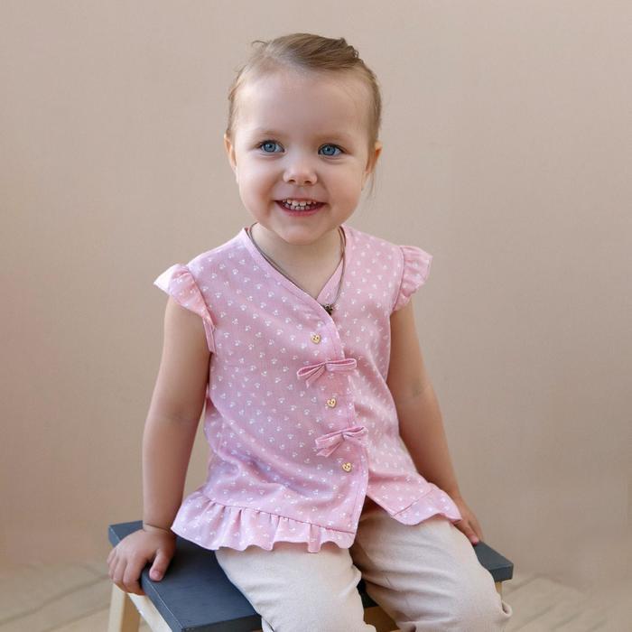 Блузка с короткими рукавами для девочки MINAKU, рост 92, цвет розовый/белый