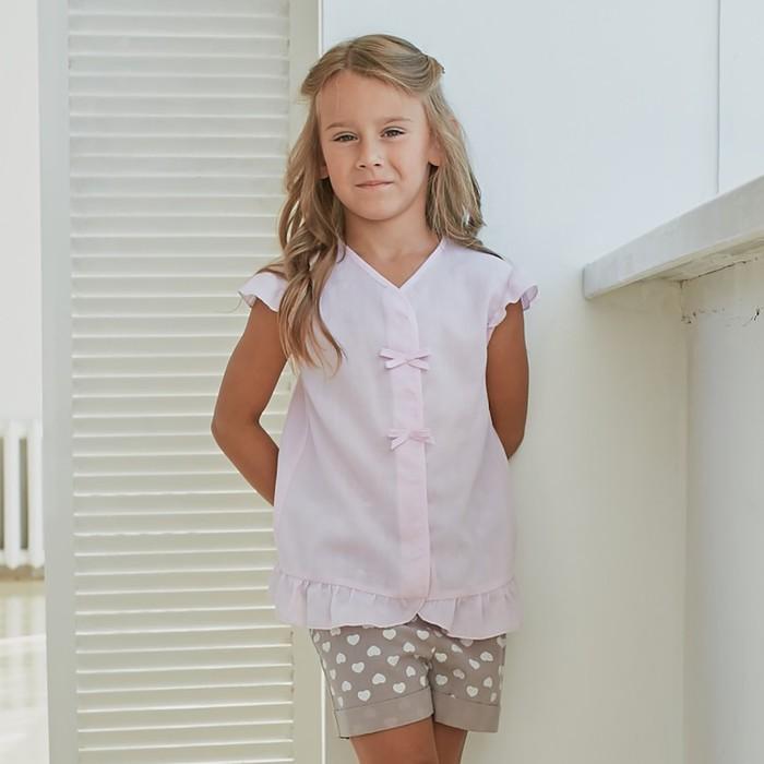 Блузка для девочки MINAKU: cotton collection romantic цвет сиреневый, рост 92 см