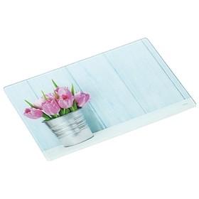 Доска разделочная «Тюльпаны» 30×20×0.4 см, стекло