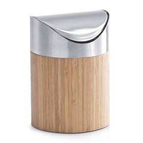 Контейнер настольный для мусора 12×17 см, бамбук, металл