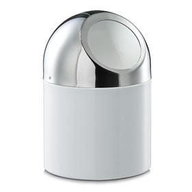 Контейнер настольный для мусора 12×18 см, белый, металл