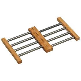 Подставка под горячее 22.5-36.5×2 см, бамбук/металл