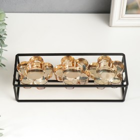 """Подсвечник металл, стекло на 3 свечи """"Стратегия"""" чёрный 6х22,8х8 см"""