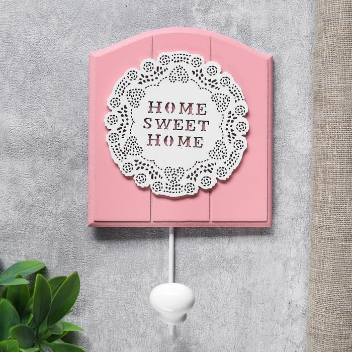 """Крючок декоративный дерево """"Цветочное кружево"""" розовый 21,5х5х13 см"""