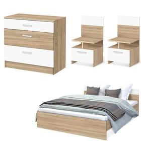 Спальня Уют, набор -  комод 800, кровать 1600, тумбы 2 шт , Дуб сонома/Белый Ош