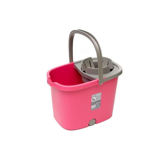 Ведро APOLO с отжимом и роликами, цвет розовый, 16 л