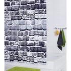 Штора для ванных комнат Wall, цвет серый, 180х200 см