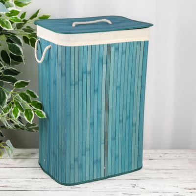 Корзина для белья с крышкой «Бамбук», 40×30×61 см, цвет бирюзовый