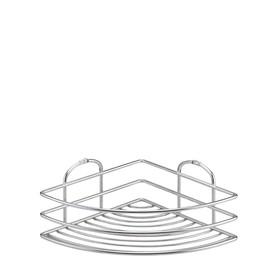 Угловая полка в ванную, размер 21х21х9 см, цвет хром