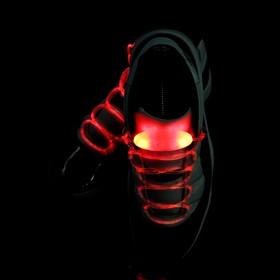 Светодиодные шнурки, 80 см, от 2 х CR2032, 3 режима, цвет свечения красный Ош