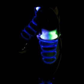 Светодиодные шнурки, 80 см, от 2 х CR2032, 3 режима, цвет свечения сине-зеленый Ош