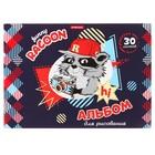 Альбом для рисования А4, 30 листов на склейке ErichKrause Funny Racoon, обложка мелованный картон, жёсткая подложка, блок 120 г/м2