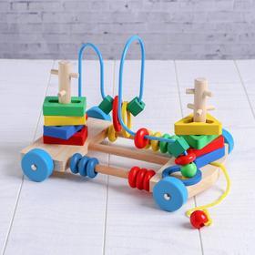 Деревянная игрушка Каталка-лабиринт «Яркие цвета», 23×17×17см Ош