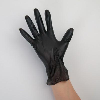 Перчатки виниловые A.D.M., размер L, 100 шт/уп, цвет чёрный - Фото 1