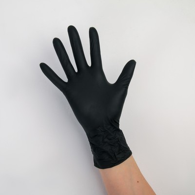 Перчатки A.D.M. нитриловые, размер M, 8 гр, 100 шт/уп, цвет чёрный - Фото 1