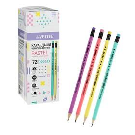 Карандаш чернографитный deVENTE Pastel НВ, с ластиком, d=2 мм, шестигранный, заточенный, микс х 4 цвета