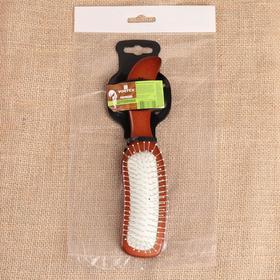 Расчёска массажная Vortex, деревянная, с металлическими зубчиками