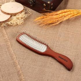 Расчёска массажная дерев волна 4,5*23,5см 51004 рез бел зубчики металл дер тёмн VORTEX