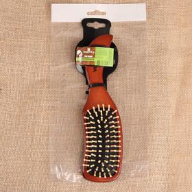Расчёска массажная Vortex «Волна», с деревянными зубчиками