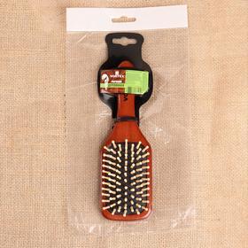Расчёска массажная  Vortex «Прямоугольник», с деревянными зубчиками