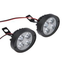 Фара cветодиодная для мототехники, 4 LED, IP67, 10 Вт, направленный свет, набор 2 шт Ош