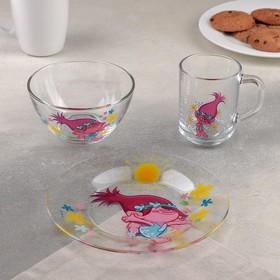 Набор посуды детский «Тролли», 3 предмета