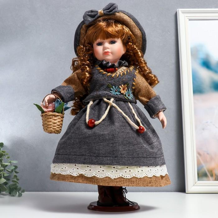 """Кукла коллекционная керамика """"Юлечка в светло-карамельном платье и в шляпке"""" 40 см"""