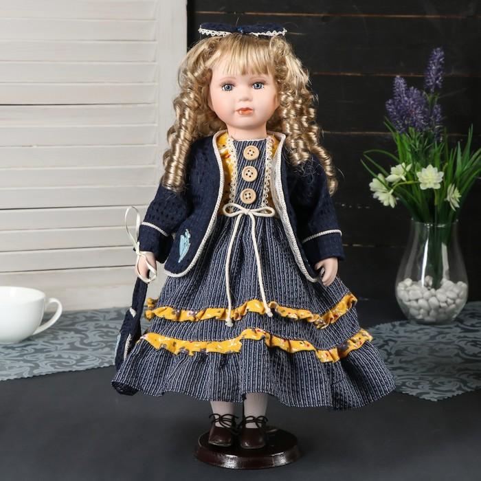 """Кукла коллекционная керамика """"Алиса в синем платье с бантиком на голове"""" 40 см"""