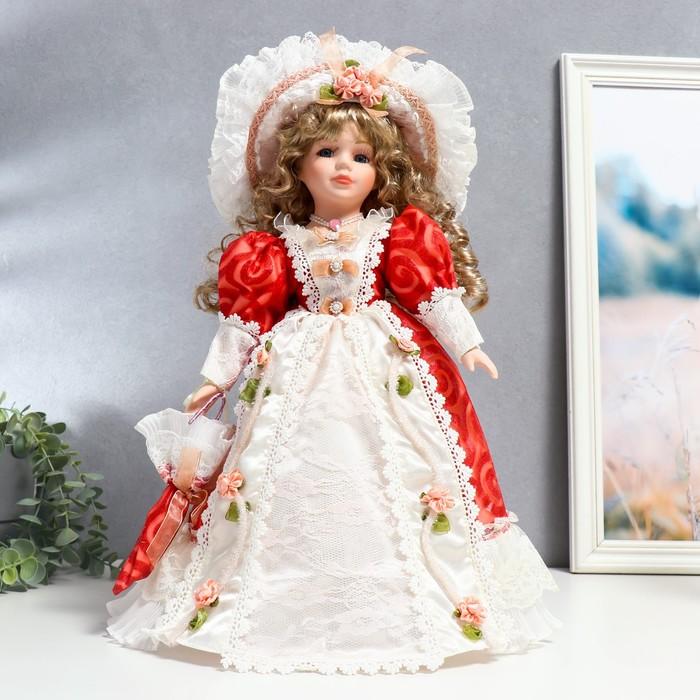 """Кукла коллекционная керамика """"Милана в платье с узорами, со шляпкой и зонтом"""" 40 см"""