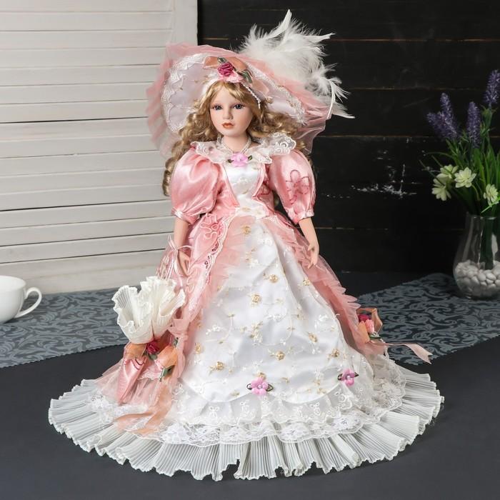 """Кукла коллекционная керамика """"Ариадна в нежно-розовом платье, в шляпе и с зонтом"""" 45 см"""