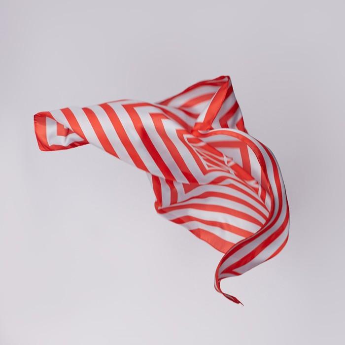 """Платок женский """"Геометрия"""", размер 70*70 см, цвет красный"""