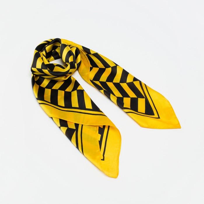 "Платок женский ""Парижанка"", размер 70*70 см, цвет желтый"