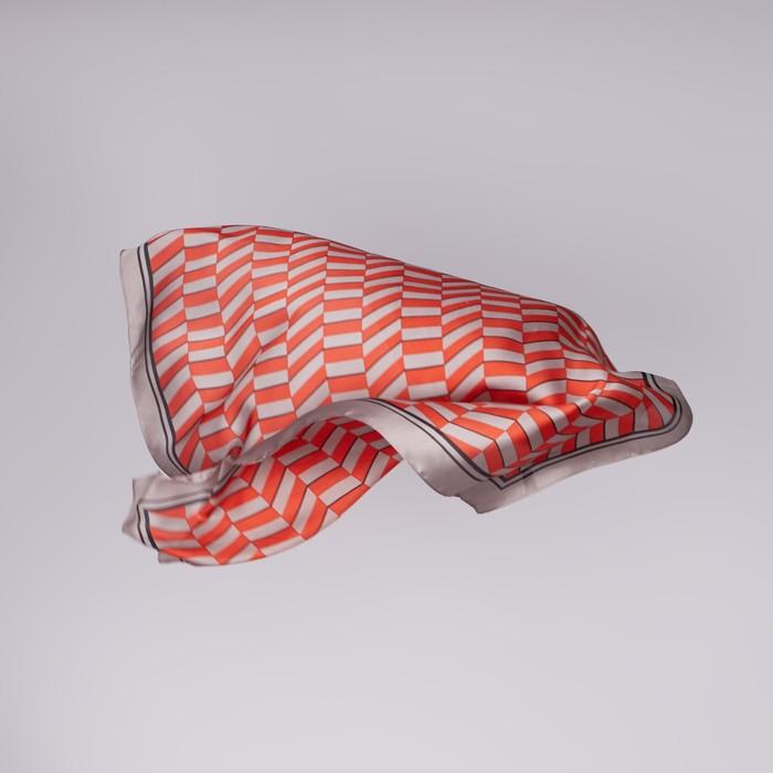 """Платок женский """"Парижанка"""", размер 70*70 см, цвет красный"""