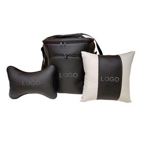 Подарочный набор: термосумка 20л, подушка на подголовник, декоративная подушка, с вышивкой, Audi   4 Ош