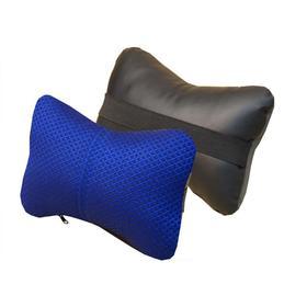 Подушка автомобильная, для шеи, экокожа-жаккард, черный/синий