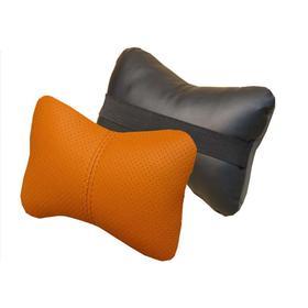 Подушка автомобильная, для шеи, экокожа, черный/оранжевый/оранжевый