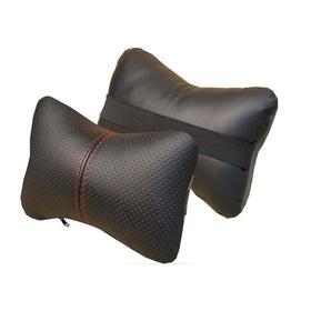 Подушка автомобильная, для шеи, экокожа,  черный/красный