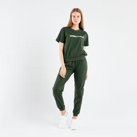 Костюм женский (футболка, брюки), цвет хаки, размер 52 Ош