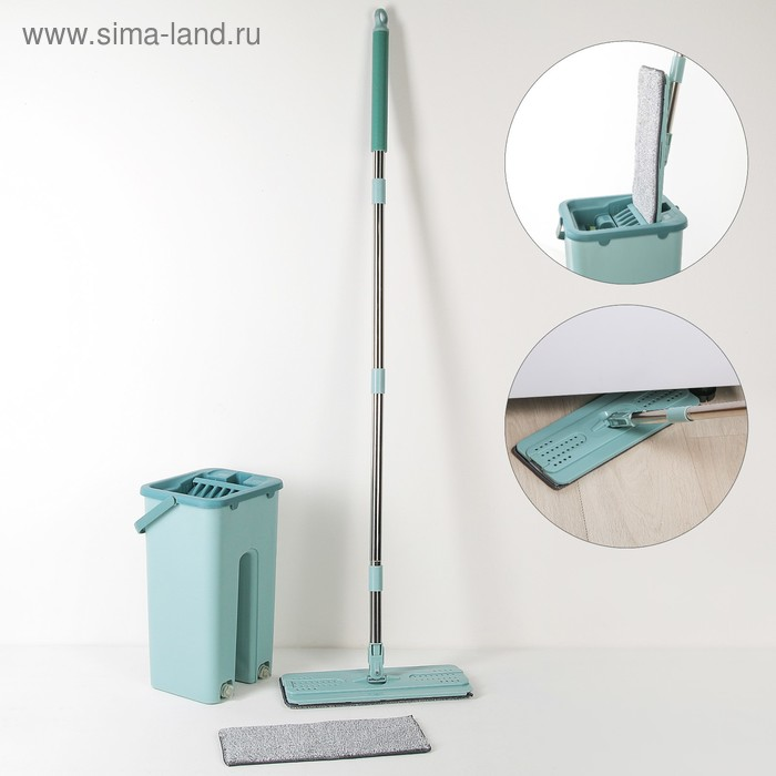 Набор для уборки: швабра плоская, ведро с двумя отсеками, 8 л, доп.насадка, цвет МИКС