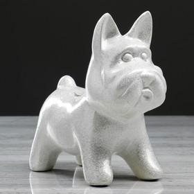 Копилка 'Собачка Агнес', глянец, серебристый цвет, 16 см Ош