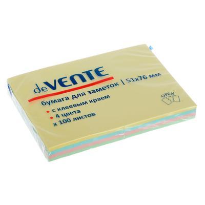 Блок с липким краем 51 х 76 мм, deVENTE Pastel, 100 листов, микс* 4 пастельных цвета