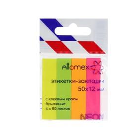 Закладки с клеевым краем (стикеры), бумажные 12 х 50 мм, 4 цвета х 80 листов, Attomex Neon Ош