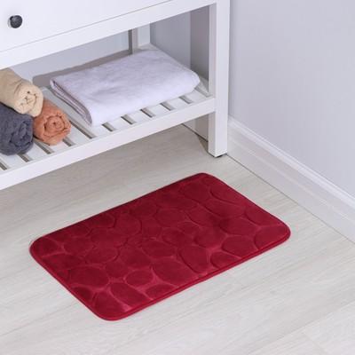 Коврик Доляна «Галька», 40×60 см, цвет бордовый - Фото 1