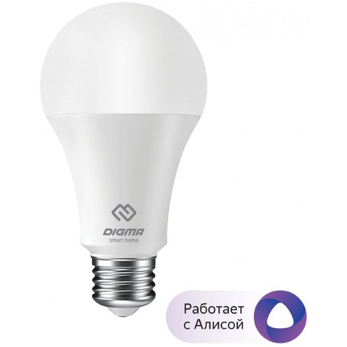 Умная лампа Digma DiLight, E27, W1, Wi-Fi, 8 Вт, 850 Лм