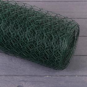 Сетка оцинкованная, сварная 1 × 10 м, ячейка 25 × 25 мм, d = 0,9 мм, металл с ПВХ Ош