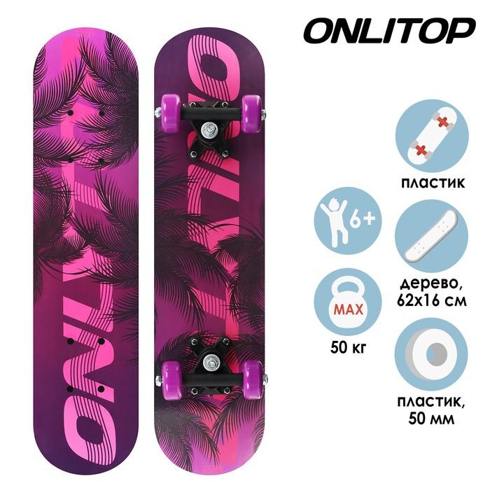 Скейтборд подростковый Пальмы 62 16 см, колёса PVC 50 мм, пластиковая рама