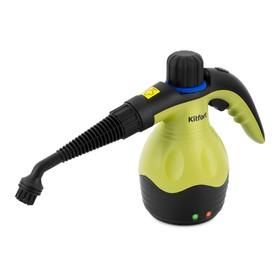 Пароочиститель Kitfort КТ-950, ручной, 1000 Вт, 0.25 л, нагрев 3 мин, чёрно-зелёный Ош