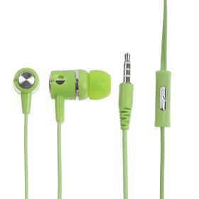 Наушники LuazON, шоу-бокс, вакуумные, микрофон, зеленые Ош